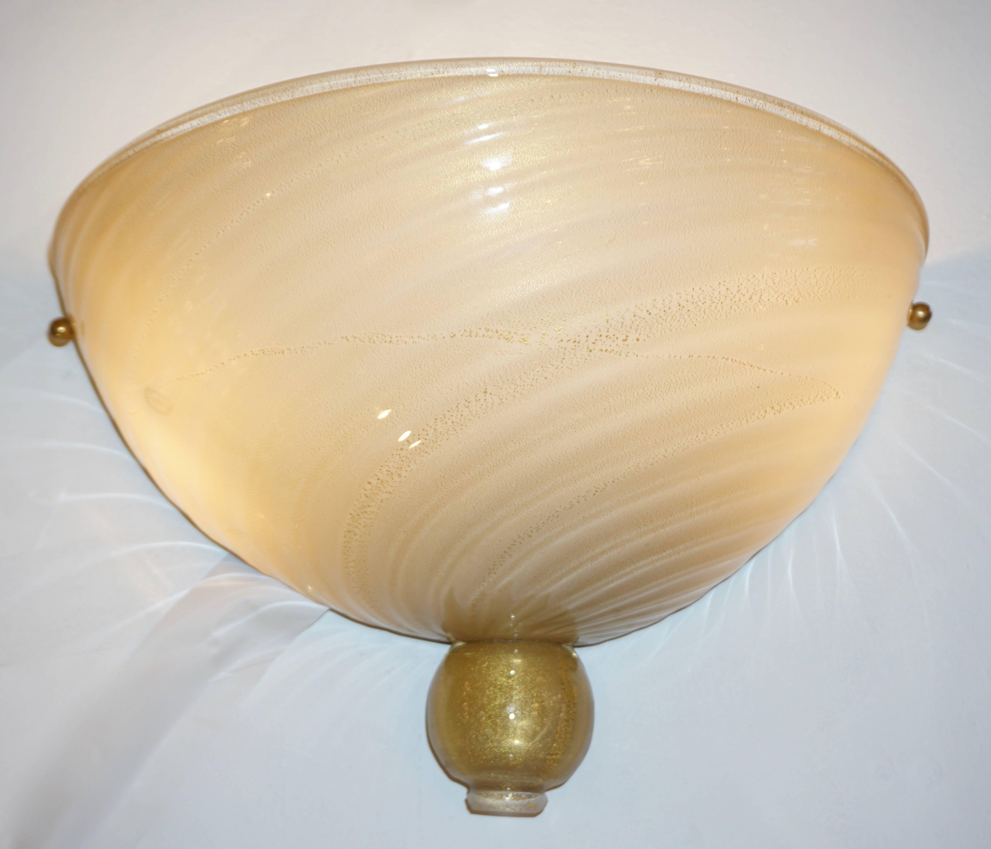 Anfora 1970s Italian Art Deco Design Pair of Ivory Gold Murano Glass ...
