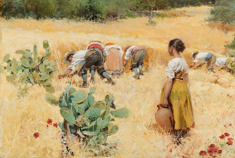 The harvest at the foot of the mountains, Framed, Oil on canvas - Painting by Angel Andrade