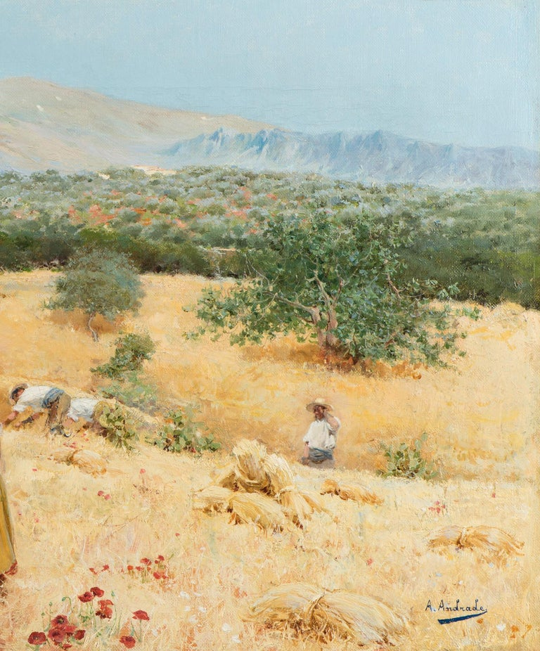 The harvest at the foot of the mountains, Framed, Oil on canvas - Naturalistic Painting by Angel Andrade