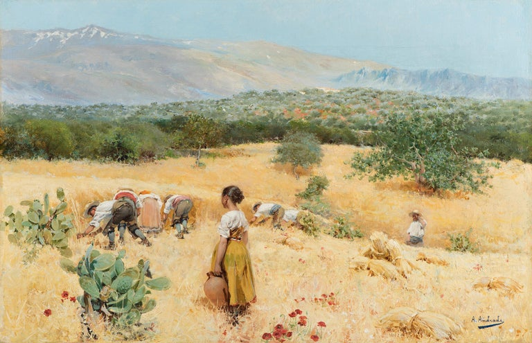 Angel Andrade Landscape Painting - The harvest at the foot of the mountains, Framed, Oil on canvas