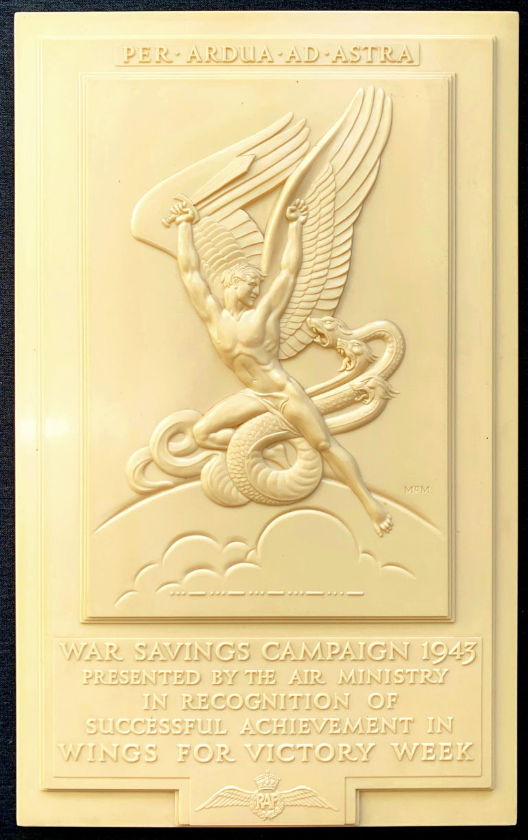 Dating to 1943, at the height of Great Britain's battle, newly joined by America, against the Nazis, this rare, Art Deco bas relief sculptural panel was commissioned and presented by the Air Ministry to fund raisers across Britain