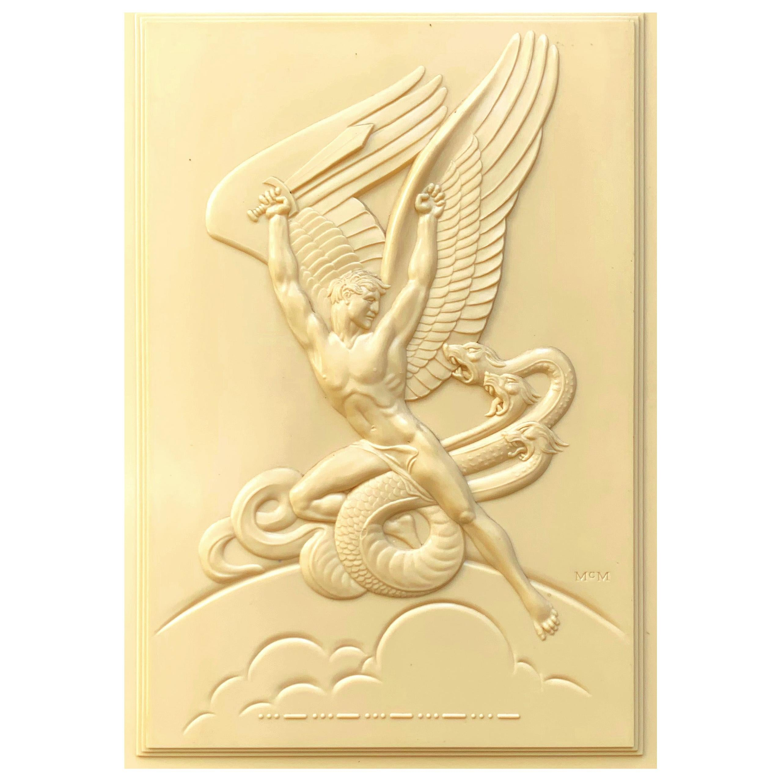 """""""Angel Battling the Hydra,"""" Fantastic Art Deco Sculptural Relief with Male Nude"""