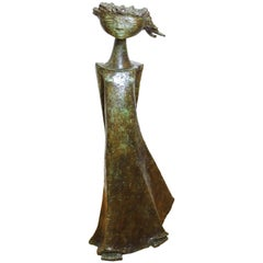 Angel Botello 'Coup de Vent II' Modern Signed Bronze Sculpture