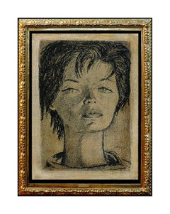 Angel Botello Original Oil Painting On Board Cubism Female Portrait Hand Signed