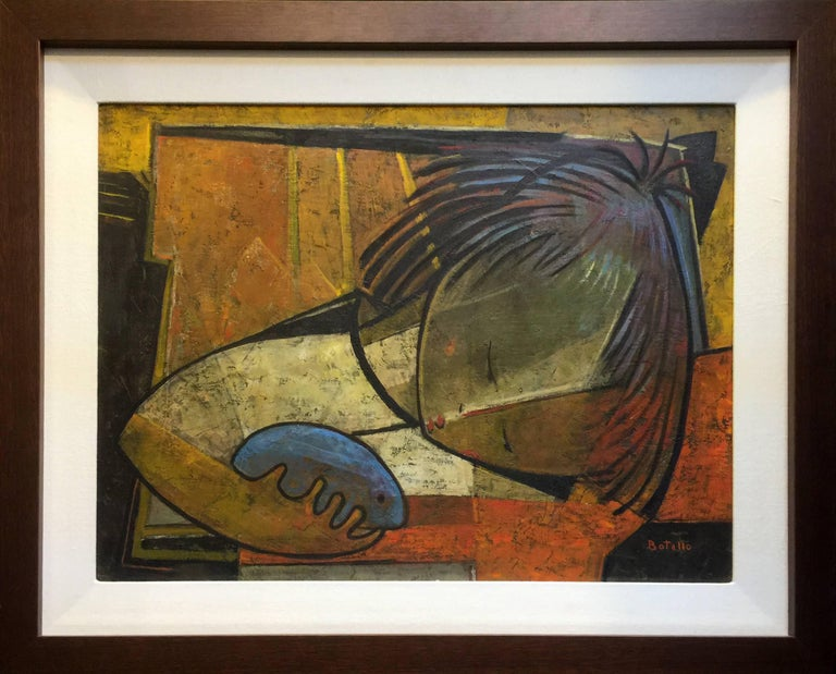 FRANCOISE WITH HAMSTER - Contemporary Painting by Angel Botello
