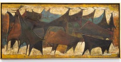 """Toros Bulls"" Abstracted Figurative Bulls, Oil on Wood Panel, Signed"