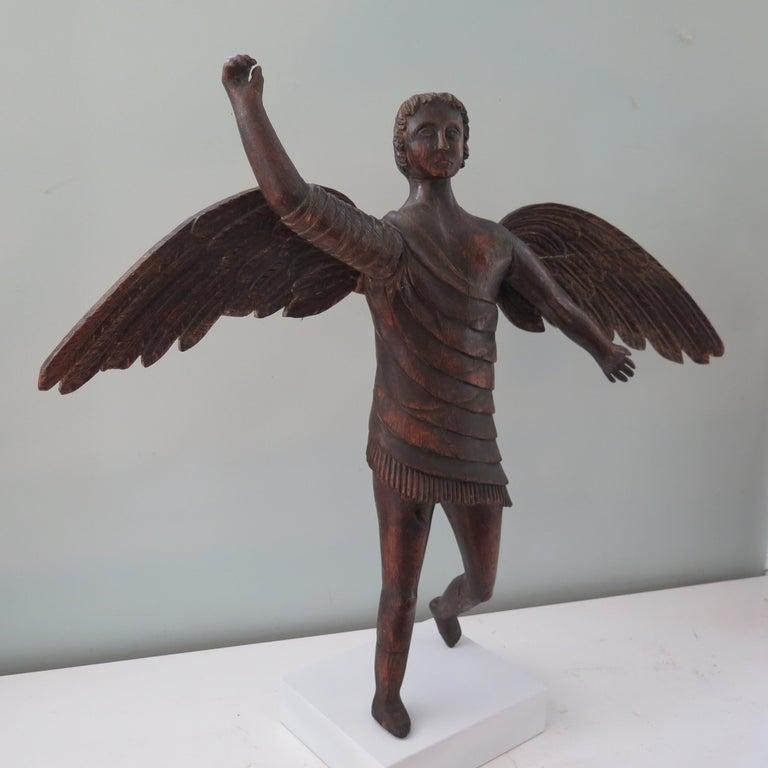 Folk Art Angel Carved Wood Sculpture For Sale