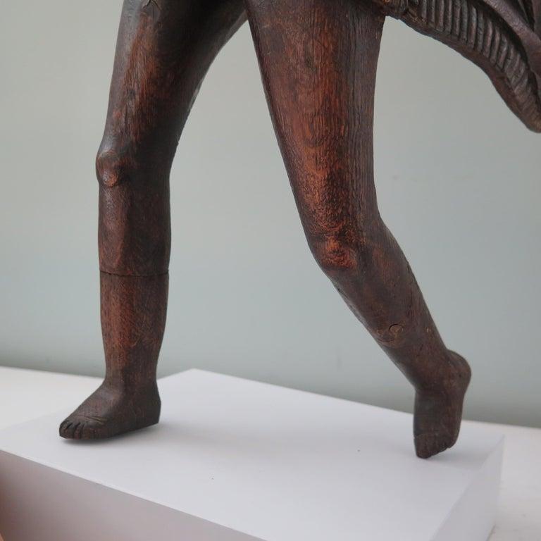 Angel Carved Wood Sculpture For Sale 2