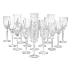 Angel Champagne Flutes by Lalique, Set of 18