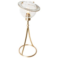 """Angel"" Contemporary Table Console Lamp, Crystal Bowl, Silvered Glass Ring"