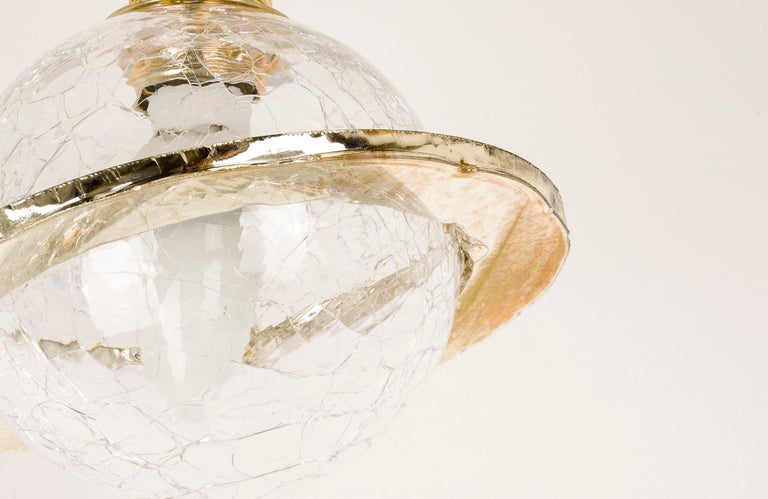 Angel Hanging Lamp Mouth Blowed Crystal Bowl Brass Silvered Glass Moving Circle 5