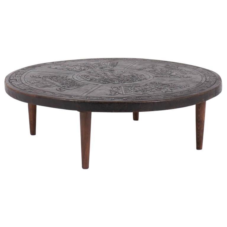 Grey Teak Coffee Table: Angel I Pazimo Coffe Table, Teak And Leather, Meubles De