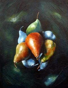 Modern fantasy Still-life Úbeda acrylic on panel Fruit Satellite