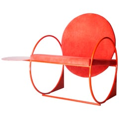 Ángel Mombiedro Modern Red Metal Velvet Armchair, Spain, 2019