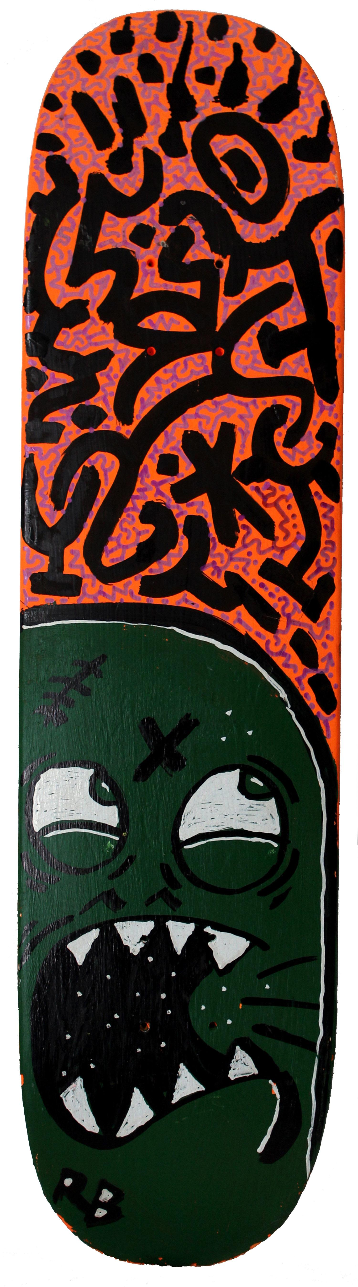 """LA2 Skateboard"" Decorated Graffiti Street Art Sculpture on Found Skateboard"