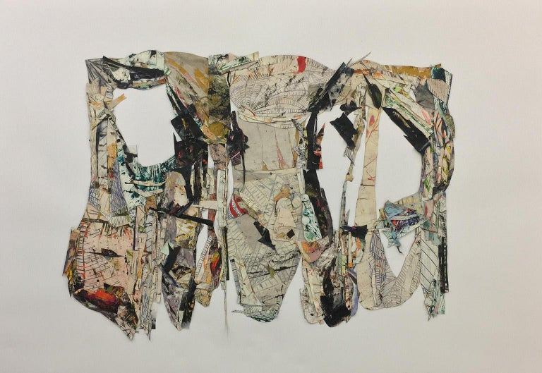 An extension of the larger paintings, these collaged works share the same visual gravity as the hanging works. Although the work lives within a frame, it also retains its sculptural, three-dimensional quality. The painting offers a dense, textured