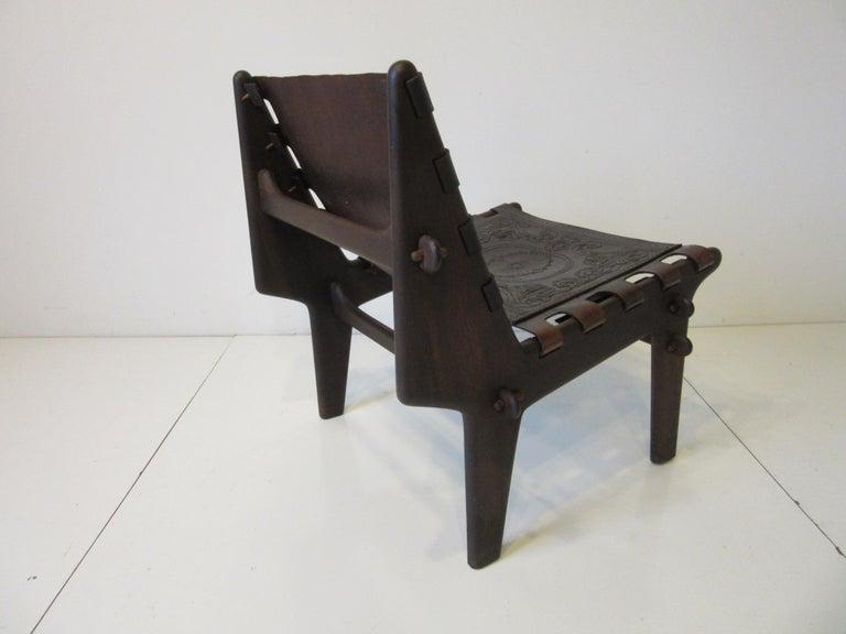 Ecuadorean Angel Pazmino Brazilian Rosewood / Leather Lounge Chair For Sale