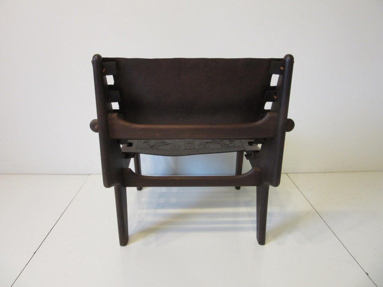 Angel Pazmino Brazilian Rosewood / Leather Lounge Chair In Good Condition For Sale In Cincinnati, OH