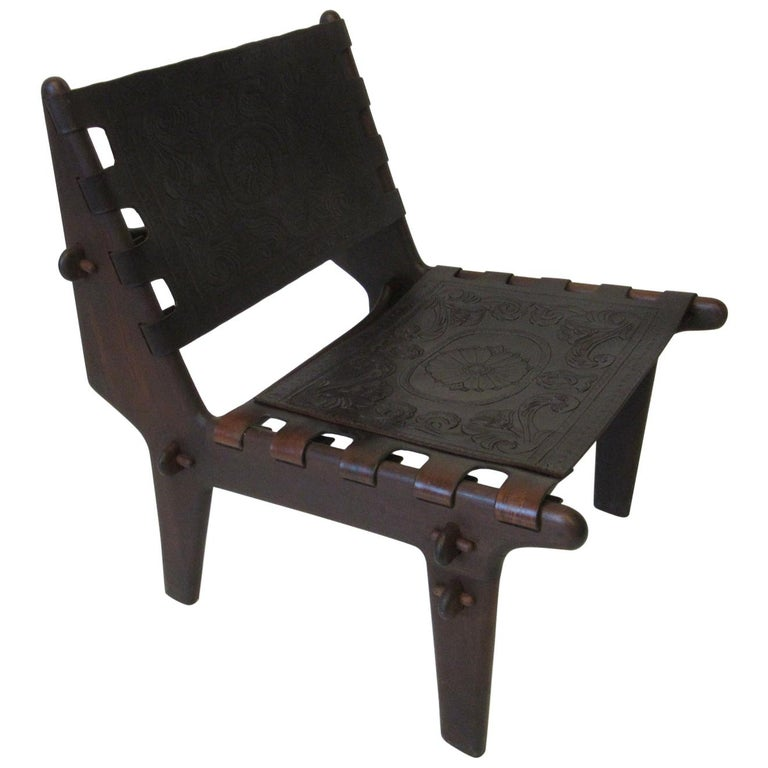 Angel Pazmino Brazilian Rosewood / Leather Lounge Chair For Sale