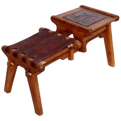 Angel Pazmino Ecuadorian Gossip Bench Tooled Leather Stool with Solid Mahogany