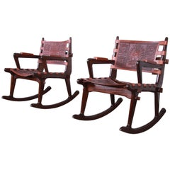 Angel Pazmino Ecuadorian Wood and Leather Rocking Chairs, Pair