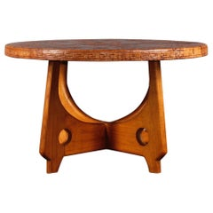 Angel Pazmino Leather and Wood Organic Coffee Table