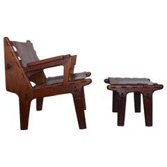 Angel Pazmino Leather Armchair and Ottoman for Muebles De Estilo, Ecuador 1960s