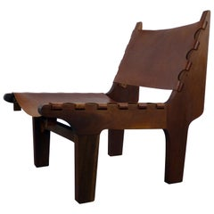 Angel Pazmino Leather Lounge Chair 1970s Ecuador
