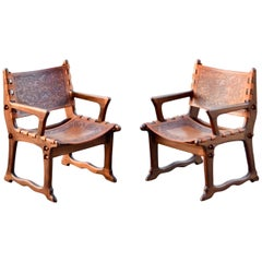 Angel Pazmino Leather Rare Lounge Chairs for Muebles de Estilo, Set of 2