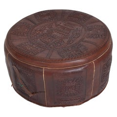 Angel Pazmino Low Leather Pouf Ottoman Stool Mayan Tooled Relief Ecuador, 1960s
