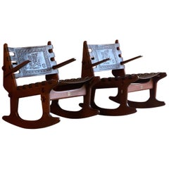 Angel Pazmino Rocking Chairs and Coffee Table Teak and Leather Ecuador, 1960