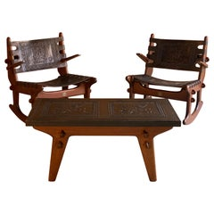 Angel Pazmino Rocking Chairs & Coffee Table Teak & Leather Ecuador, 1960