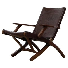 Angel Pazmino Tooled Leather Folding Arm Chair