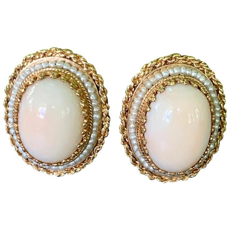 Angel Skin Coral 14 Karat Gold Clip-On Earrings For Sale