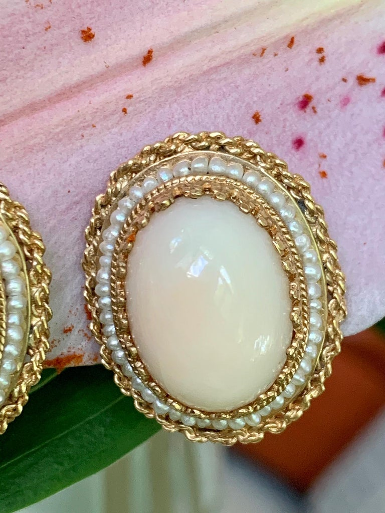 Cabochon Angel Skin Coral 14 Karat Gold Clip-On Earrings For Sale