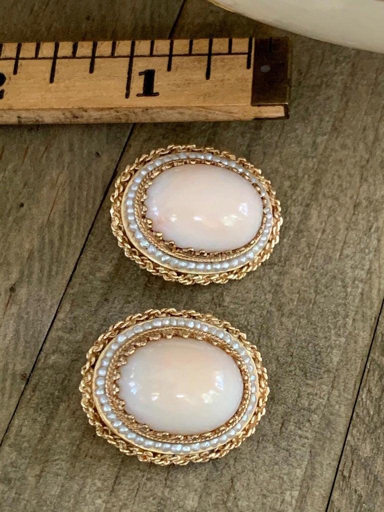 Women's Angel Skin Coral 14 Karat Gold Clip-On Earrings For Sale