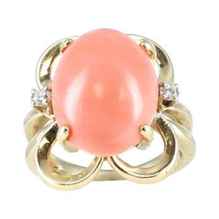 Angel Skin Coral and Diamond Ring in 14 Karat Yellow Gold