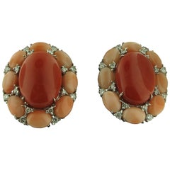 Angel Skin Coral and Ox Blood Coral and Diamond Earrings in 18 Karat White Gold
