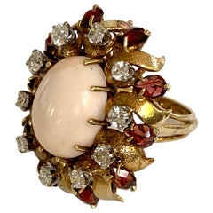 Angel Skin Coral Cabochon and Diamond 14 Karat Yellow Gold Ring - Size 6 1/4