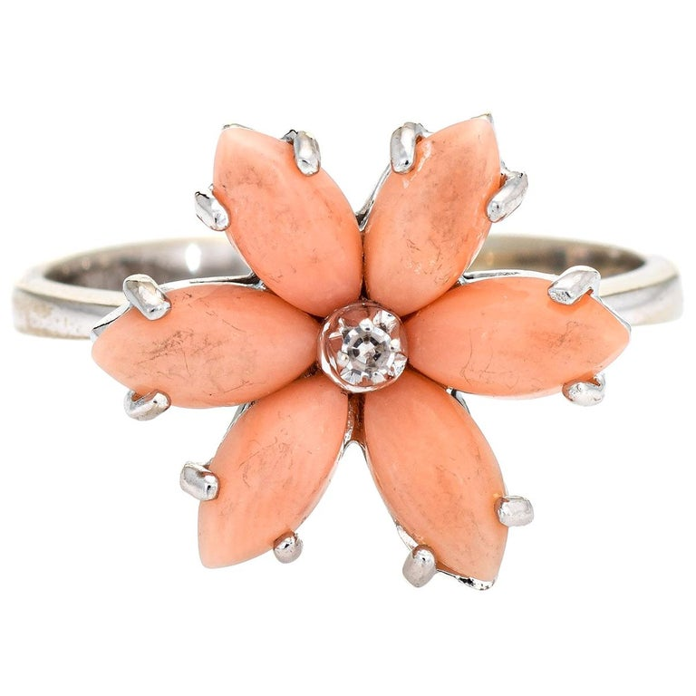 Angel Skin Coral Diamond Ring Estate 18 Karat White Gold Flower Jewelry For Sale