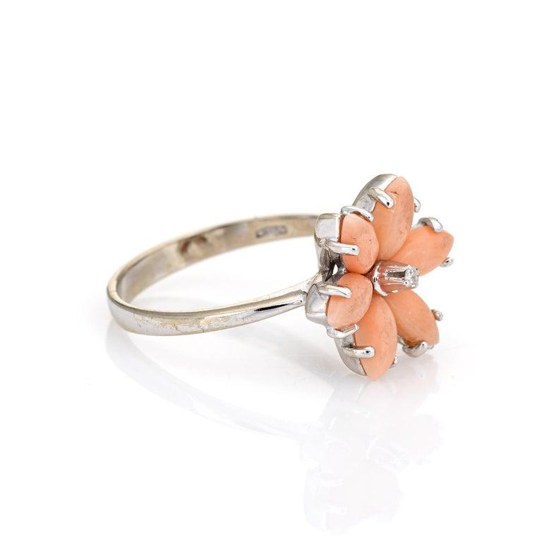 Modern Angel Skin Coral Diamond Ring Estate 18 Karat White Gold Flower Jewelry For Sale