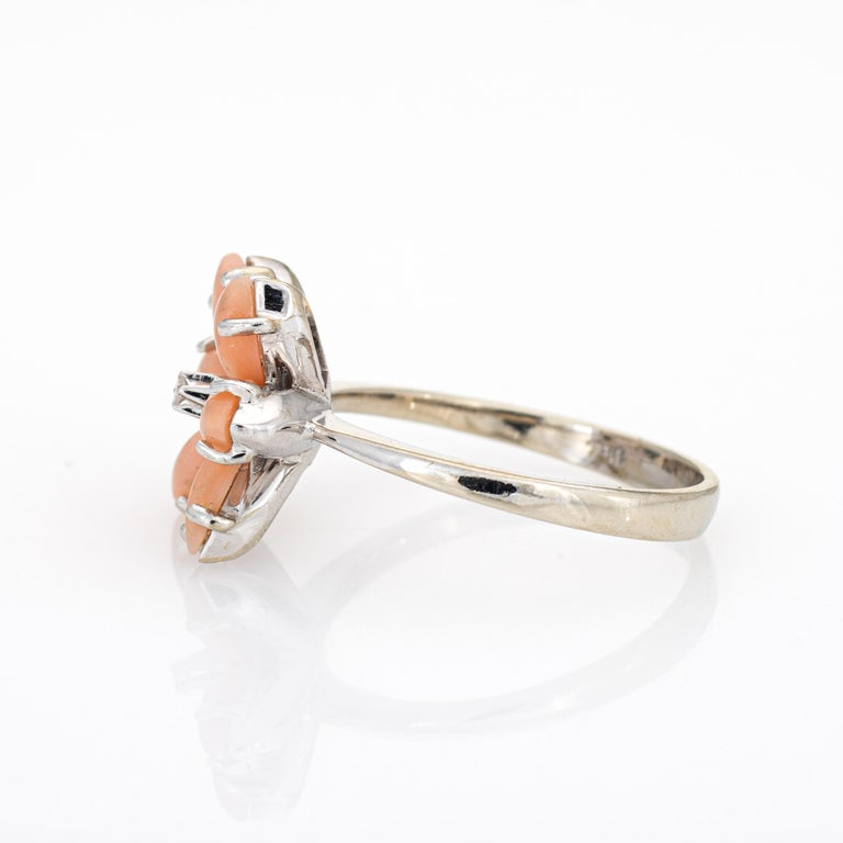 Cabochon Angel Skin Coral Diamond Ring Estate 18 Karat White Gold Flower Jewelry For Sale