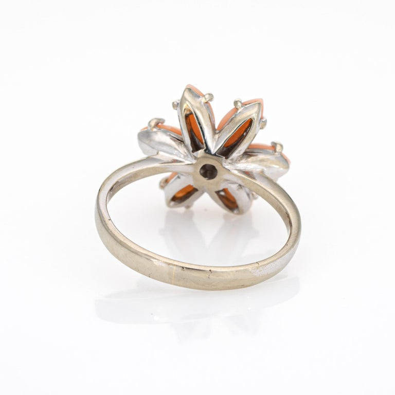 Angel Skin Coral Diamond Ring Estate 18 Karat White Gold Flower Jewelry In Good Condition For Sale In Torrance, CA