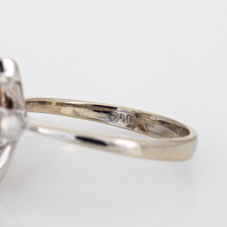Angel Skin Coral Diamond Ring Estate 18 Karat White Gold Flower Jewelry For Sale 1