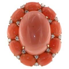 Angel Skin Coral Diamond Ring in 18 Karat Rose Gold