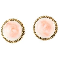 Angel Skin Coral Earrings Set in 14 Karat Yellow Gold, circa 1930