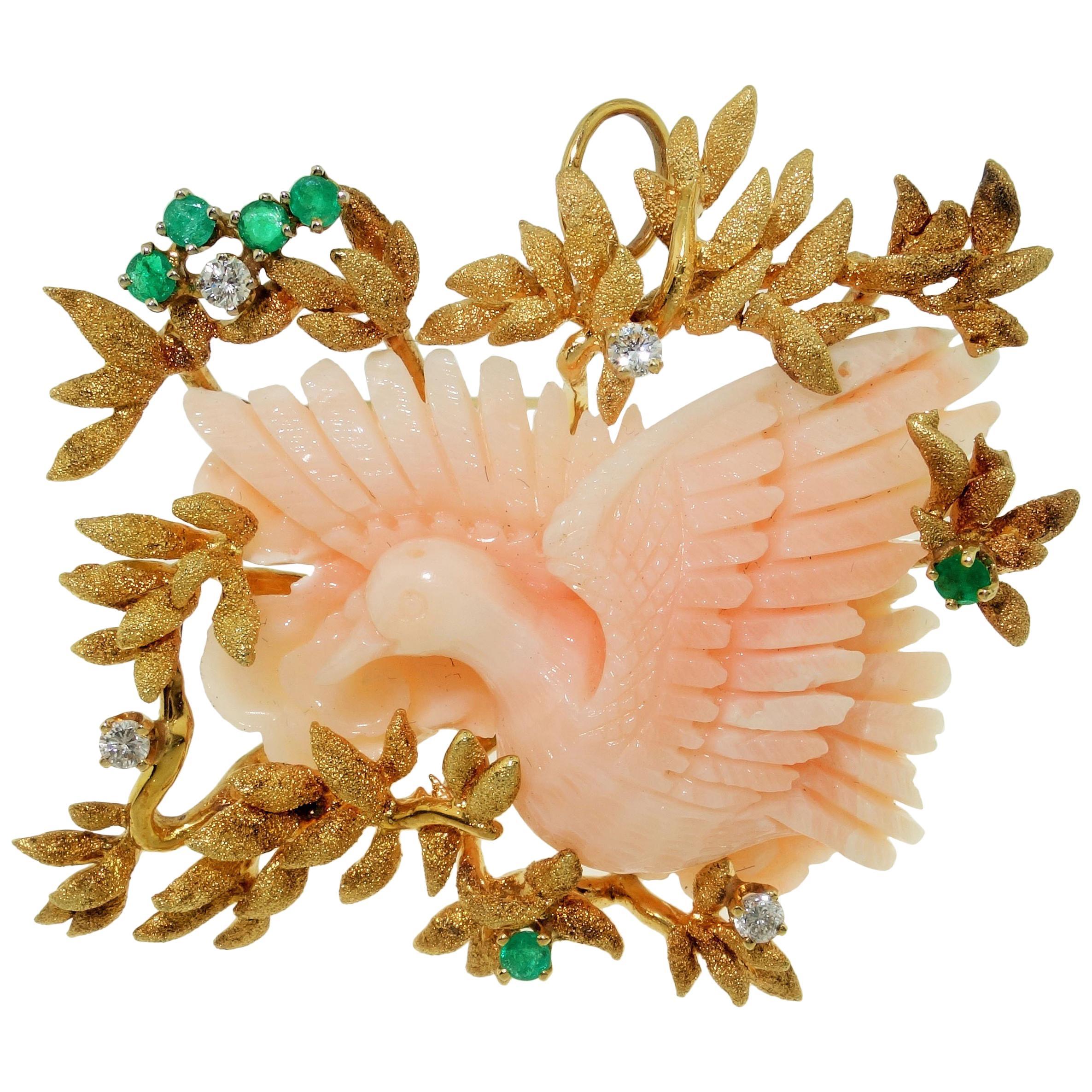 Angel Skin Coral Emerald Diamond Gold Brooch Pin Pendant Estate Fine Jewelry
