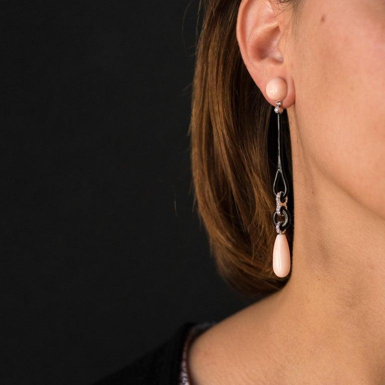 Women's Angel Skin Coral Onyx Enamel Diamonds Art Deco Style Dangle Earrings For Sale