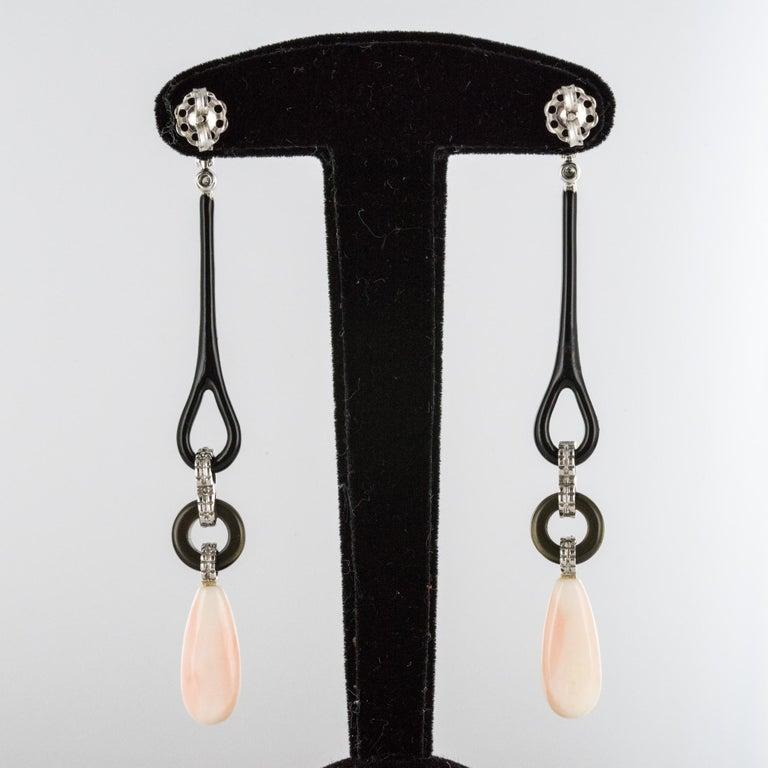 Angel Skin Coral Onyx Enamel Diamonds Art Deco Style Dangle Earrings For Sale 1