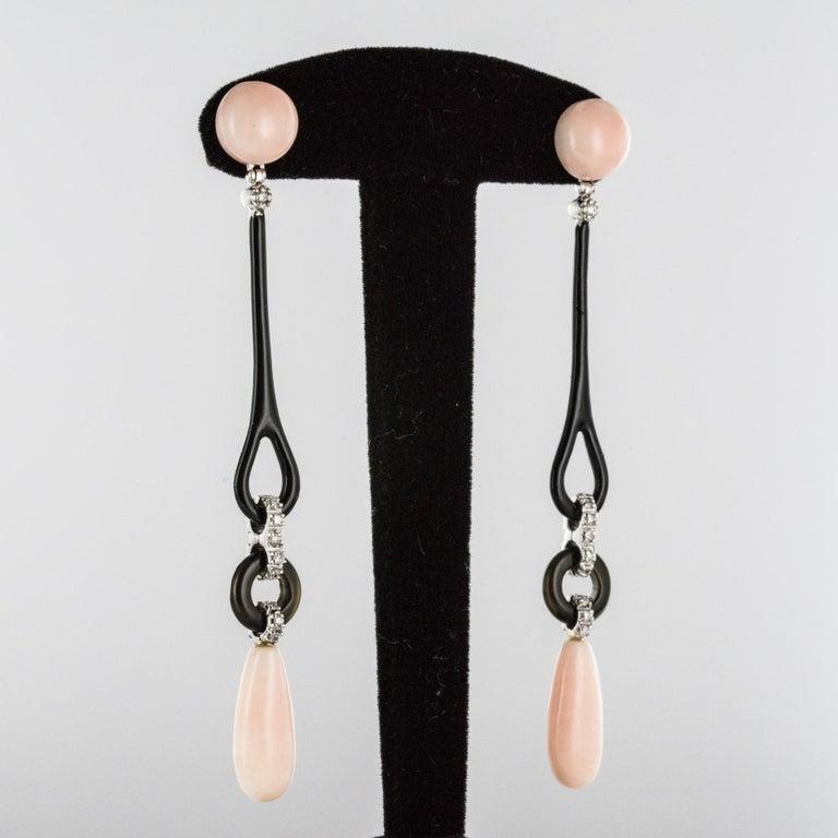 Angel Skin Coral Onyx Enamel Diamonds Art Deco Style Dangle Earrings For Sale 3